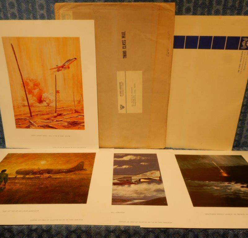 "1969 ""Portfolio of Air Force Art"" Lot of 4 Prints in Original Envelope (SEE AD)"