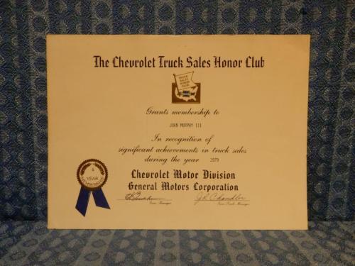 1979 Chevrolet Truck Sales Honor Club Original Certificate