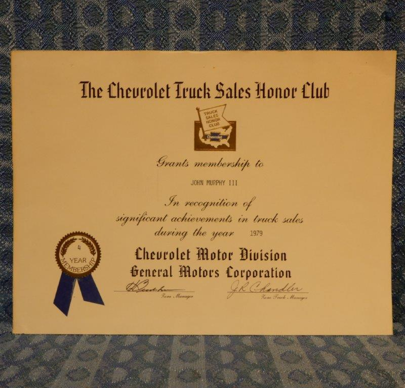 1979 Chevrolet Truck Sales Honor Club Original Certificate