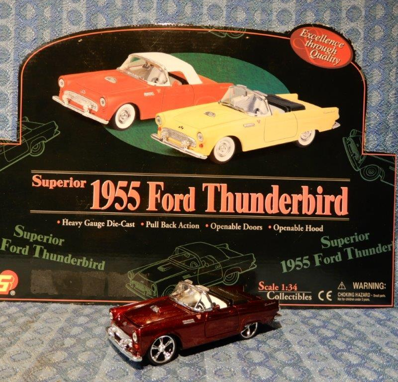 NEW 1955 Ford Thunderbird - Convertible 1:34 Die Cast - Maroon