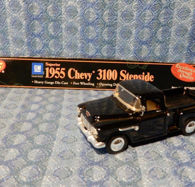 New Black 1955 Chevrolet Stepside Pickup 1:36 Scale Die Cast, Doors & Gate Open