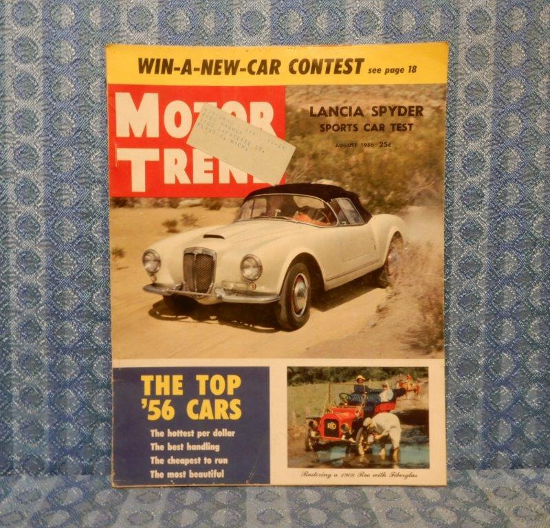 August 1956 Original Motor Trend Magazine Lancia Spyder & Top '56 Cars Report
