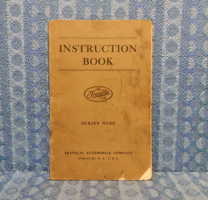 1924 1925 Franklin Series Nine ORIGINAL Instruction Book / Owners Manual