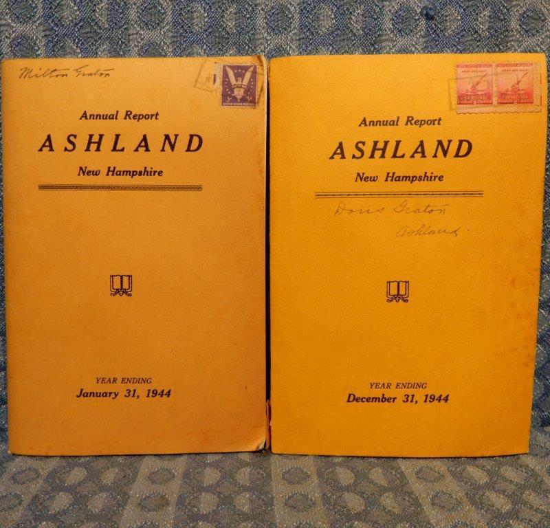 Ashland New Hampshire Pair of ORIGINAL Annual Reports Jan & Dec 1944