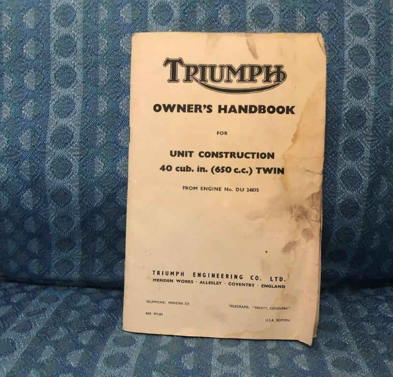1965 Triumph Motorcycle 40 CID, 650 c.c. Twin, Original Owners Handbook USA Ed.