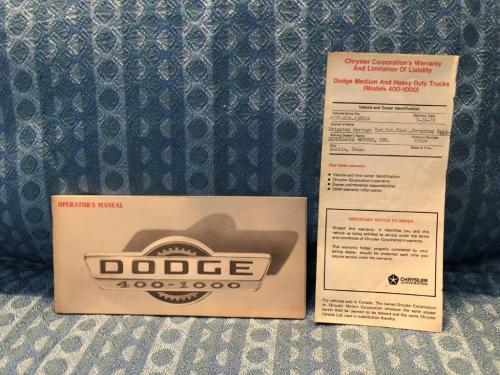 1970 Dodge Truck 400 - 1000 Original Owners Operators Manual with Warranty 2 pcs
