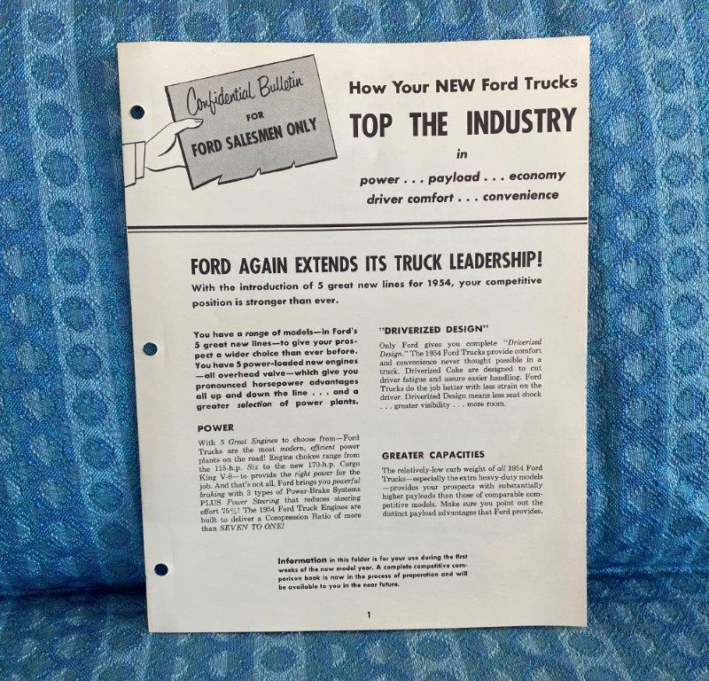 1954 Ford Truck F100 F250 F600 Original, Confidential Bulletin For Ford Salesmen