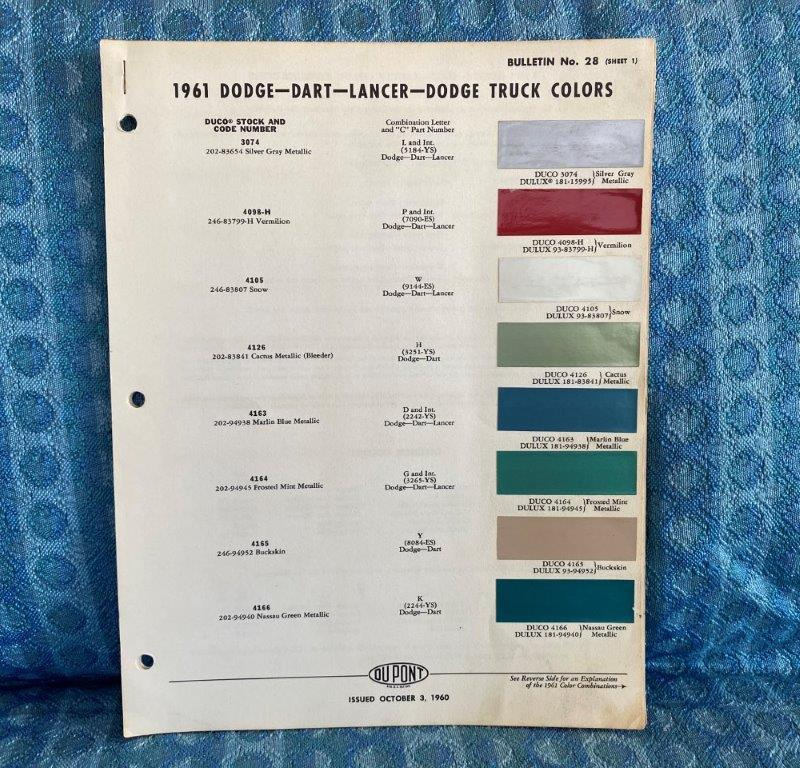 1961 Dodge Original Dupont Color Paint Chip Chart Including Truck 4 Pages