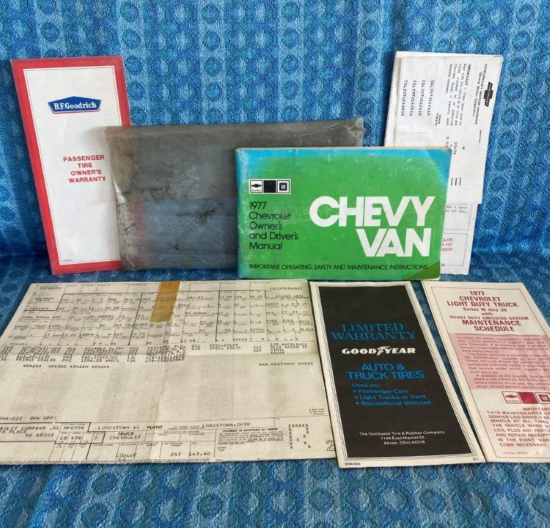 1977 Chevrolet Van Original Owners Manual - 7 Piece Package in Original Envelope