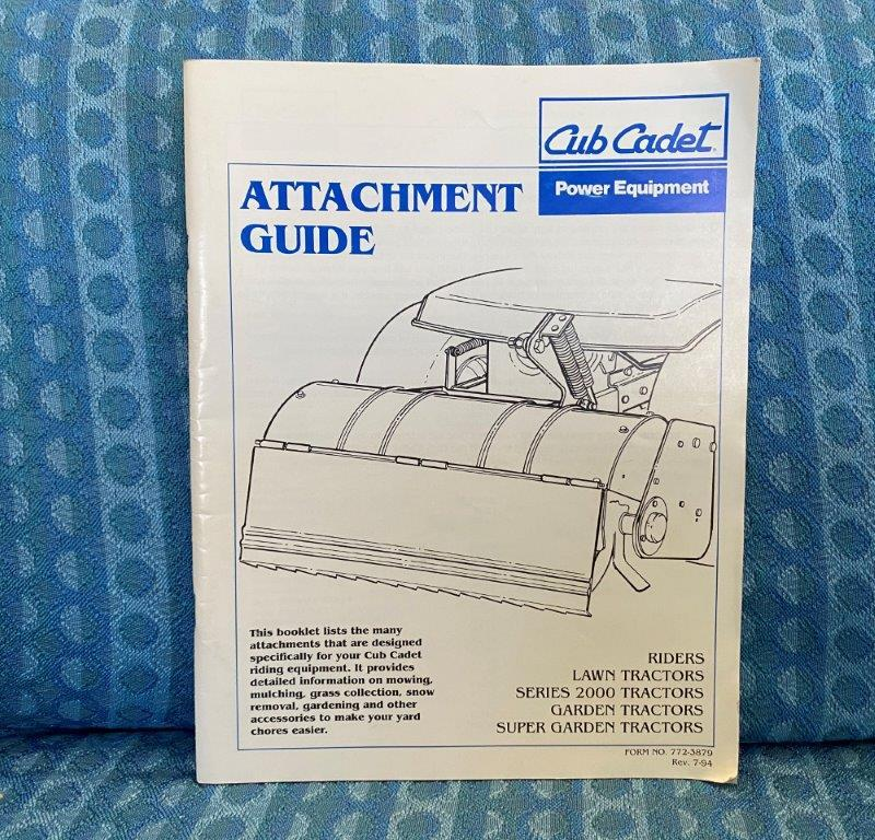 1994 Cub Cadet Lawn & Garden Tractors Original Attachment Guide