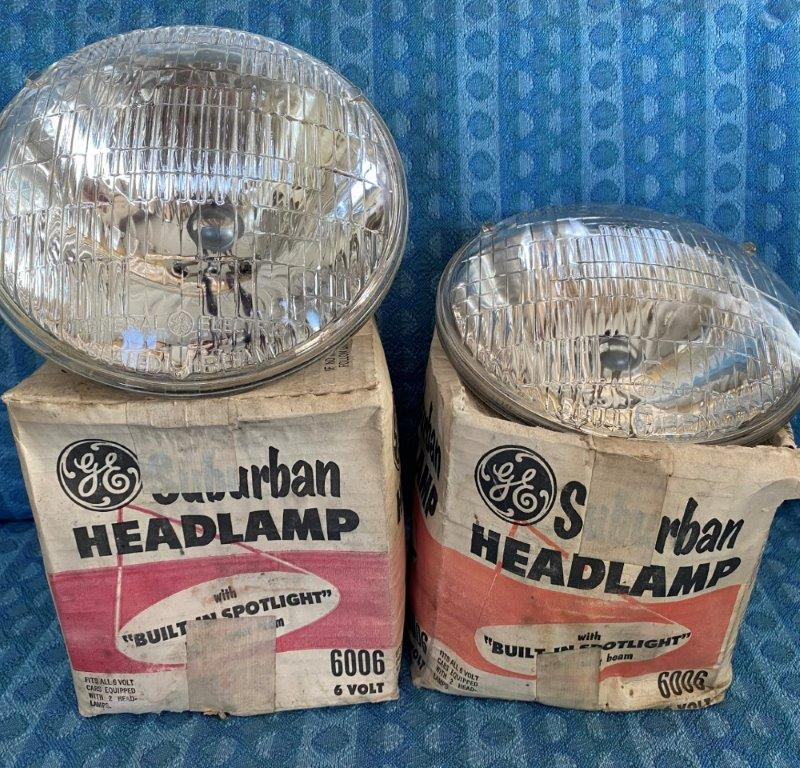 1940-1955 Pair NORS 6 Volt Sealed Beam Headlight Bulbs #6006 GM Ford Mopar AMC