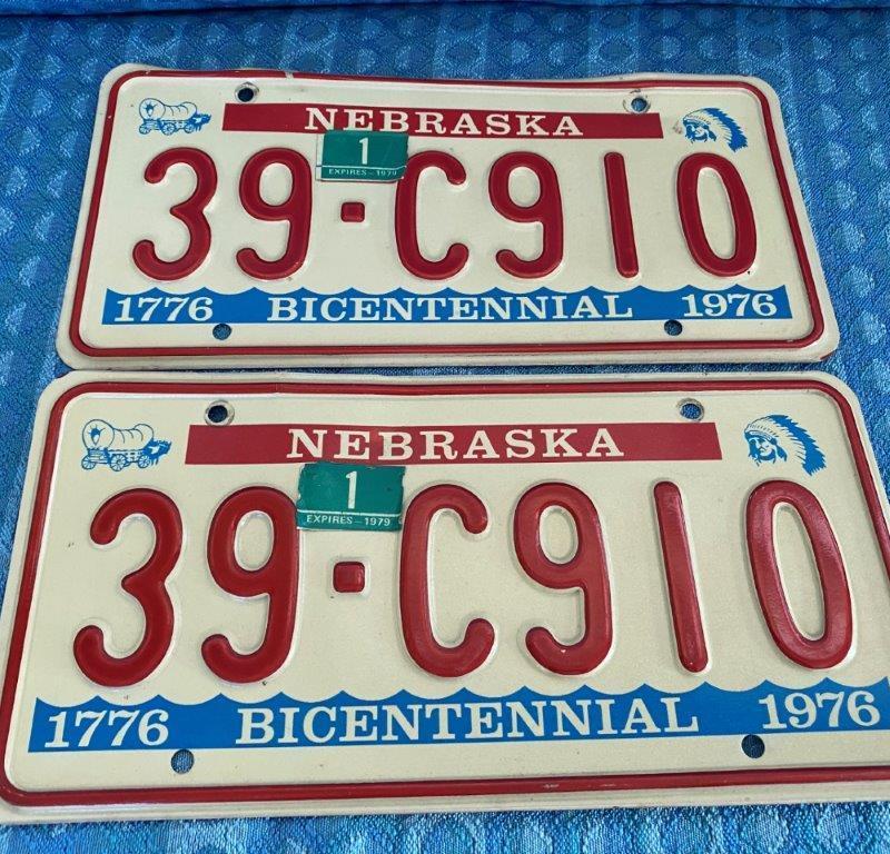 Original Pair of Nebraska License Plates 1976 1977 1978 1979 # 39-C910