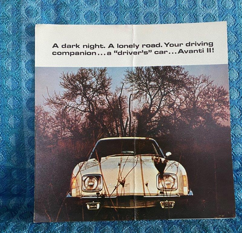 1972 Avanti II Original Color Sales Brochure