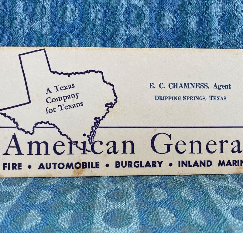 American General Ins. Original Ink Blotter E.C. Chambers Dripping Springs Texas