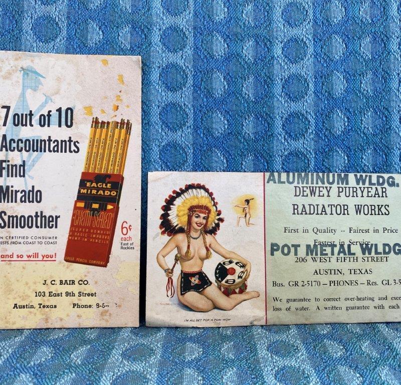 Austin Texas Pair Original Advertising Ink Blotters, Dew Puryear, J.C. Blair Co.