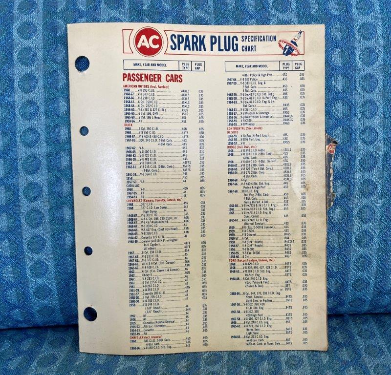 1955-1968 AC Spark Plug Original Application Chart GM Ford Mopar AMC 57 61 63 65
