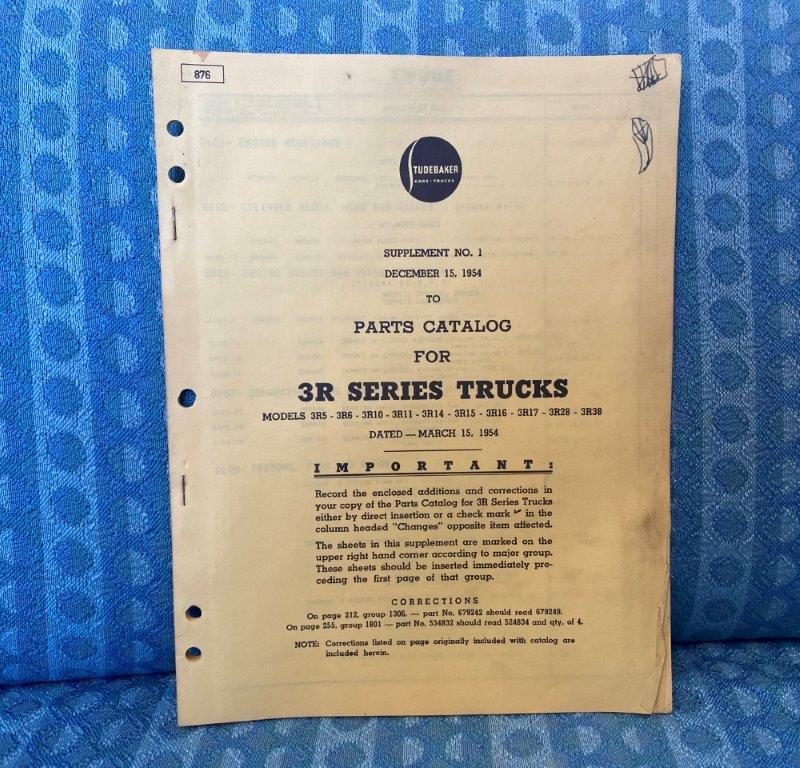 1954-1955 Studebaker 3R Series Trucks Original Parts Catalog Supplement