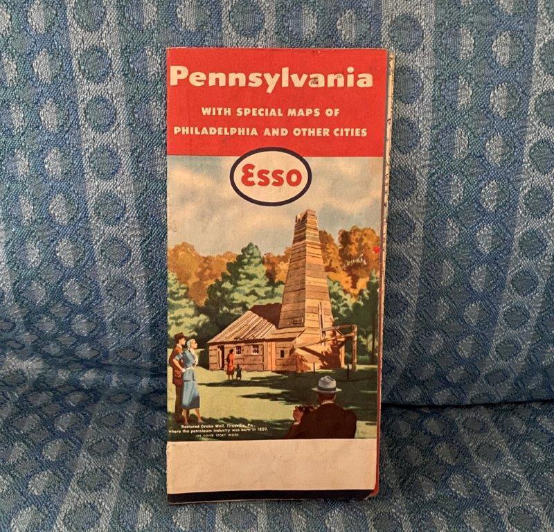 1959 Pennslyvania Original Esso Road Map