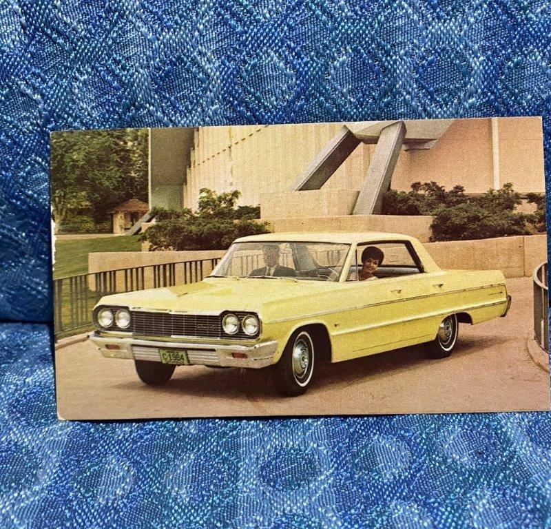 1964 Chevrolet Impala 4 door Sport Sedan Original NOS Factory / Dealer Postcard
