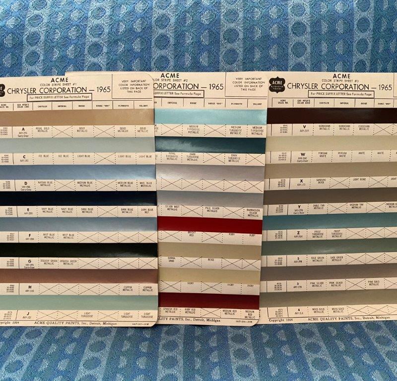 1965 Chrysler Corp. Original Acme Paint Color Chip Chart Dodge Plymouth 4 Pages