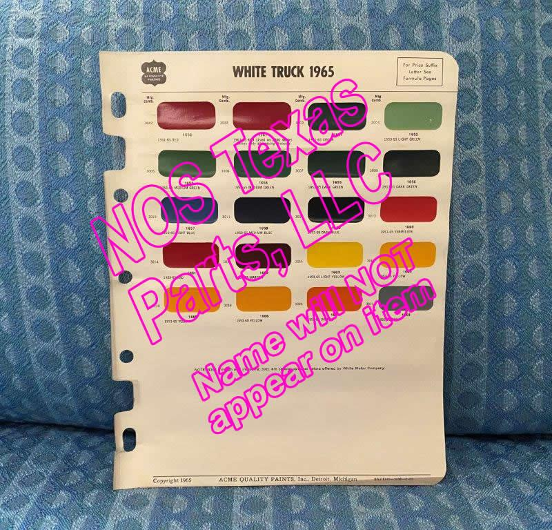 1965 White Truck Original Acme Paint Color Chip Chart