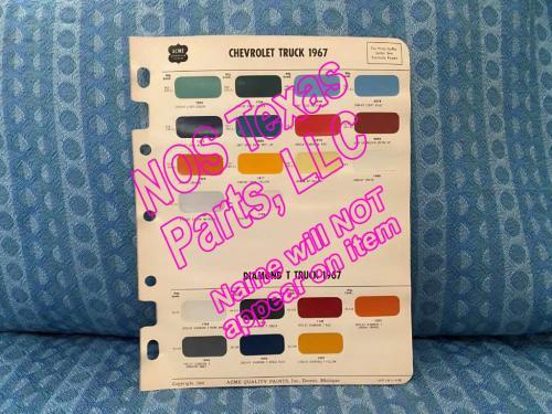 1967 Chevrolet Truck & Diamond T Truck Original Acme Paint Color Chip Chart