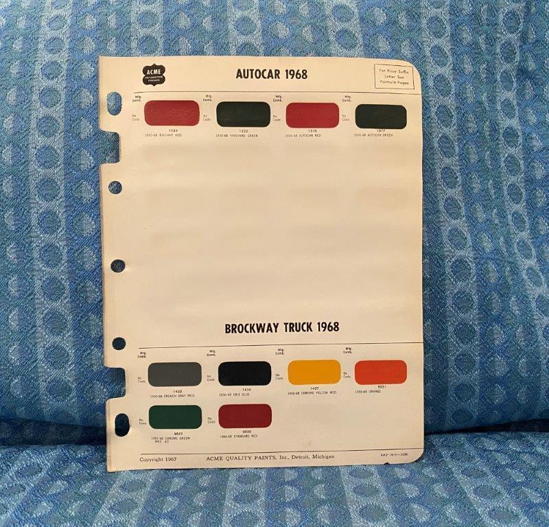1968 Autocar & Brockway Truck Original Acme Paint Color Chip Chart