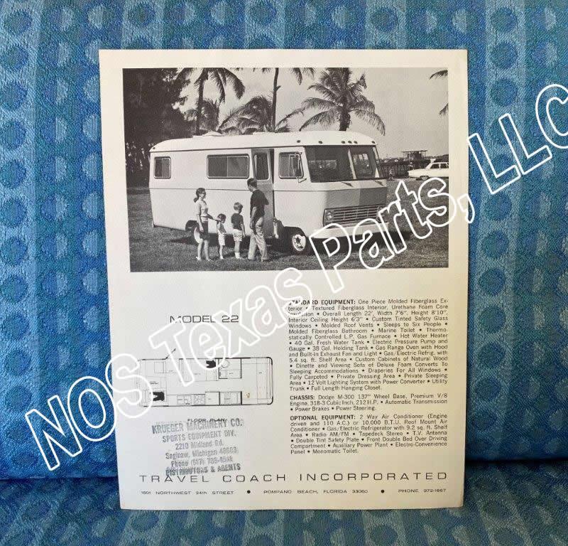 1968 Travel Coach Motorhome Model 22 Original Sales Flyer