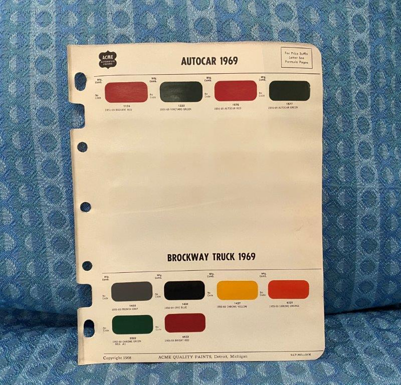 1969 Autocar & Brockway Truck Original Acme Paint Color Chip Chart