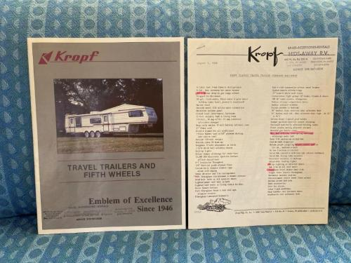1989 Kropf Travel Trailer Original Sales Brochure & Specs. Sheets 2 Pc Set