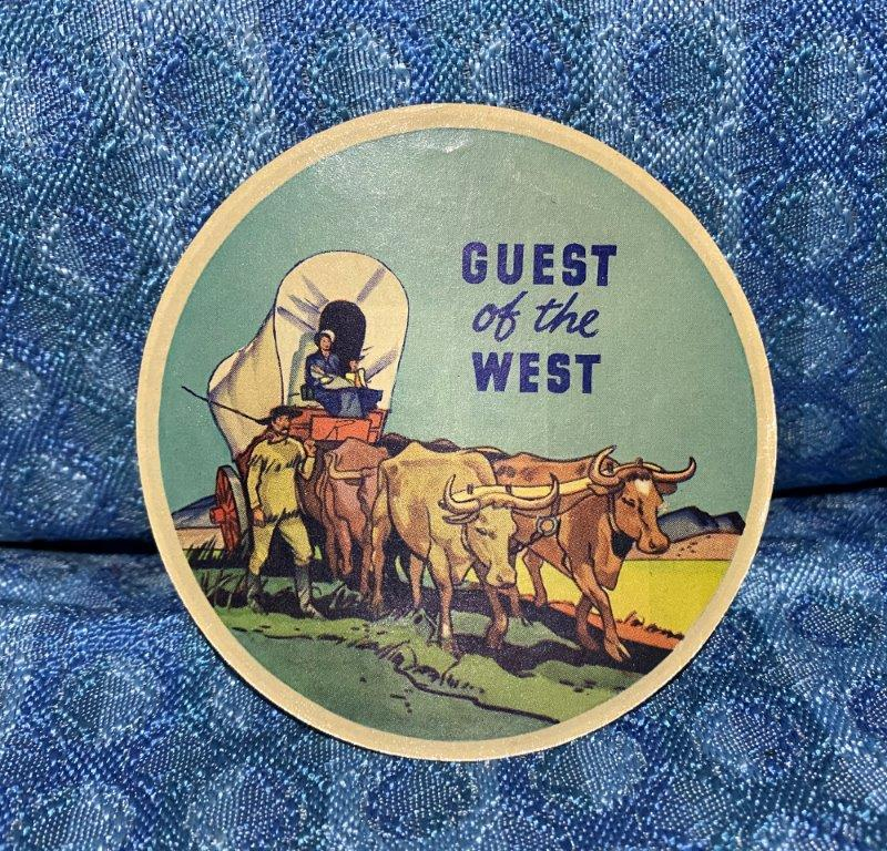 "Circa 1940 Standard Oil Co. NOS Original ""Guest Of The West"" 4"" Window Decal"