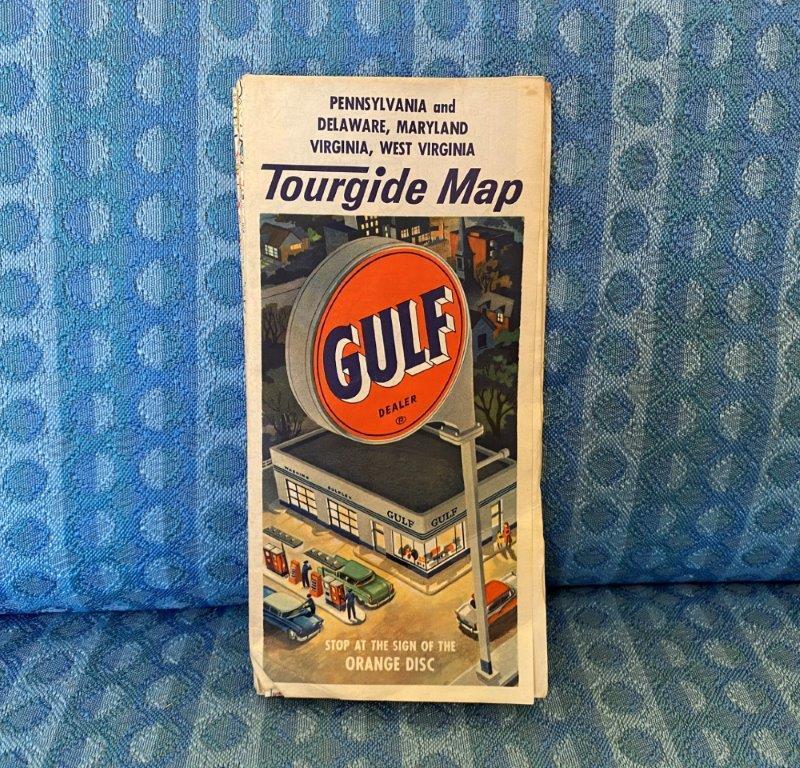 Circa 1956 Gulf Oil Tourgide Map Penn. Delaware Maryland Virginia West Virginia
