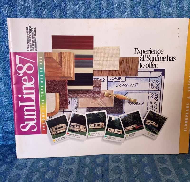 1987 Sunline Travel Trailers, 5th Wheels, Truck Campers Original Sales Brochure