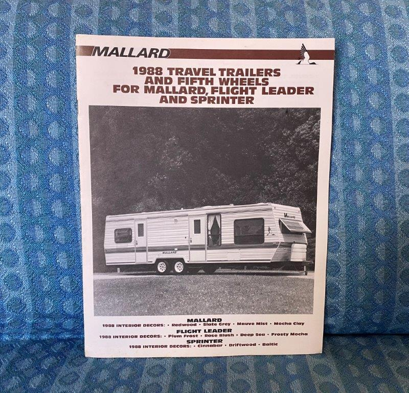 1988 Mallard Travel Trailer & 5th Wheel Original Sales Brochure Floorplans Specs
