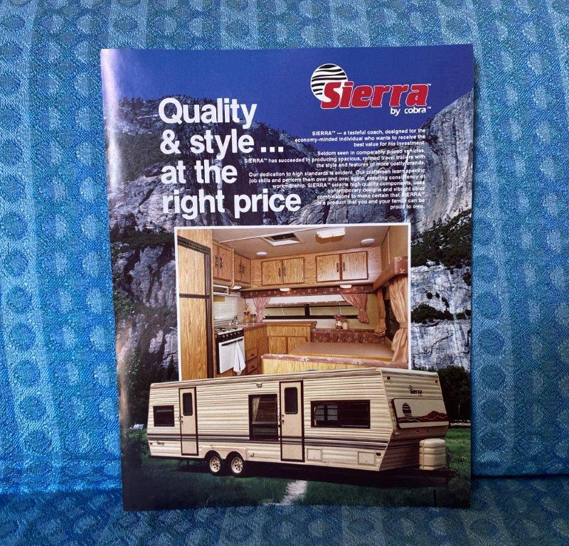 1988 Sierra by Cobra Travel Trailer Original Sales Flyer