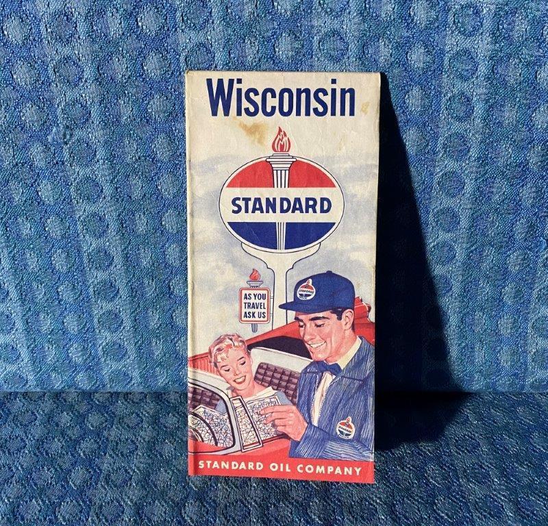 1955 Standard Oil Co. Wisconsin Original Highway Road Map