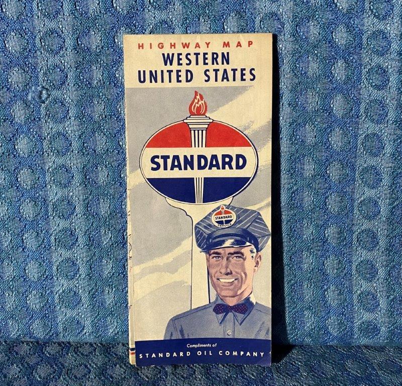 1955 Standard Oil Western United States Original Highway Road Map