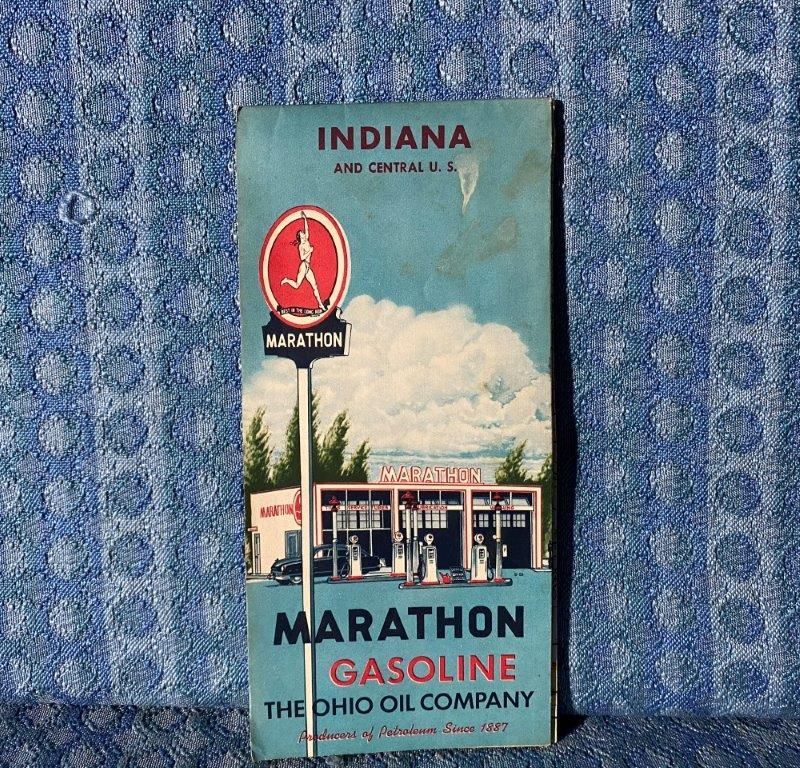 1956 Marathon Gasoline Indiana & Central U.S. Original Road Map
