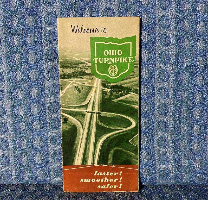 1956 Ohio Turnpike Original Road Map with Fares