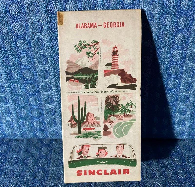 1956 Sinclair Georgia / Alabama Original Road Map