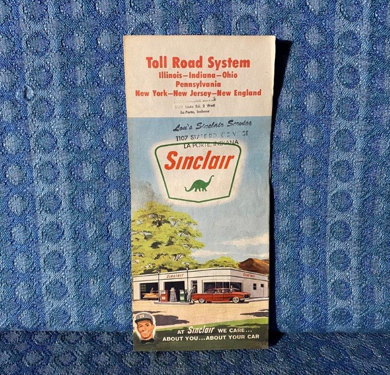 1959 Sinclair Toll Road System Original Road Map IL IN OH PA NY NJ New England