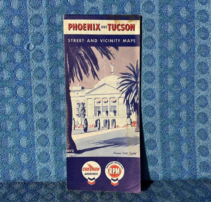 1960 Phoenix & Tucson Arizona Chevron RPM Original Street & Vicinity Map