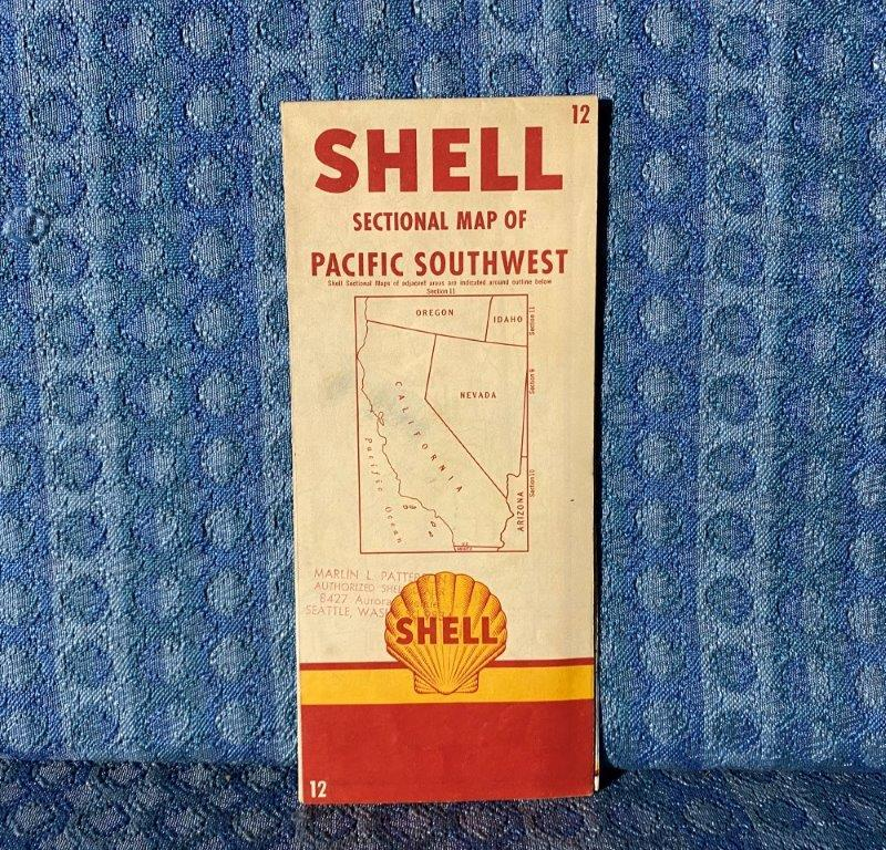 Circa 1950 Shell Oil Co. Sectional Map of Pacific Southwest California Nevada