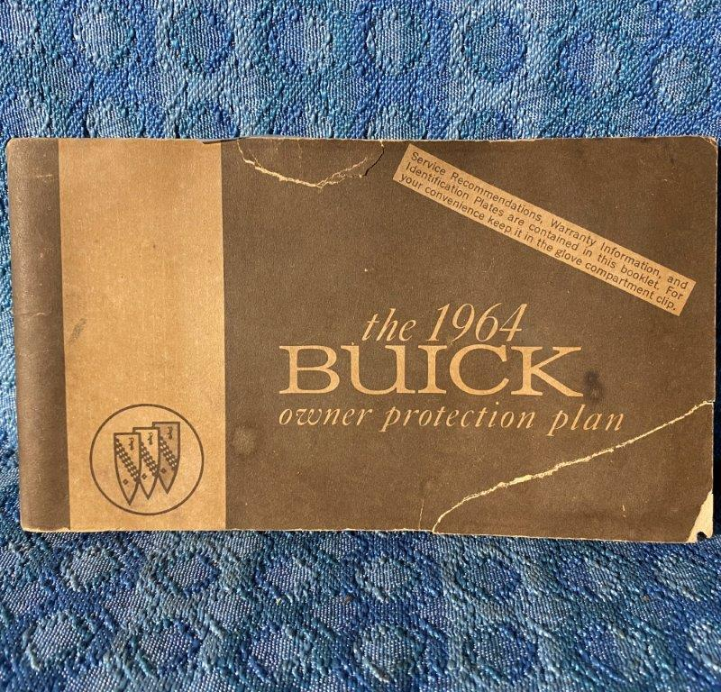 1964 Buick Original Owners Protection Plan Book with I.D. Plate