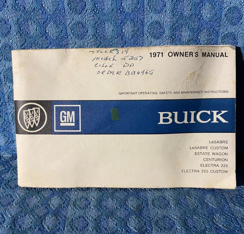 1971 Buick LeSabre, Electra 225, Estate Wagon Original Owners Manual
