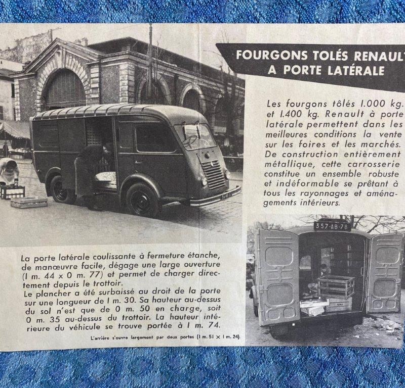 1954 Renault Panel Van Original French Sales Brochure - Fourgons Toles Renault