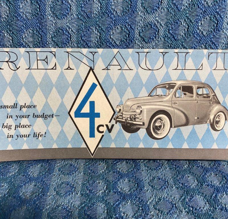 1958 Renault 4cv Original Sales Folder / Brochure U.S.