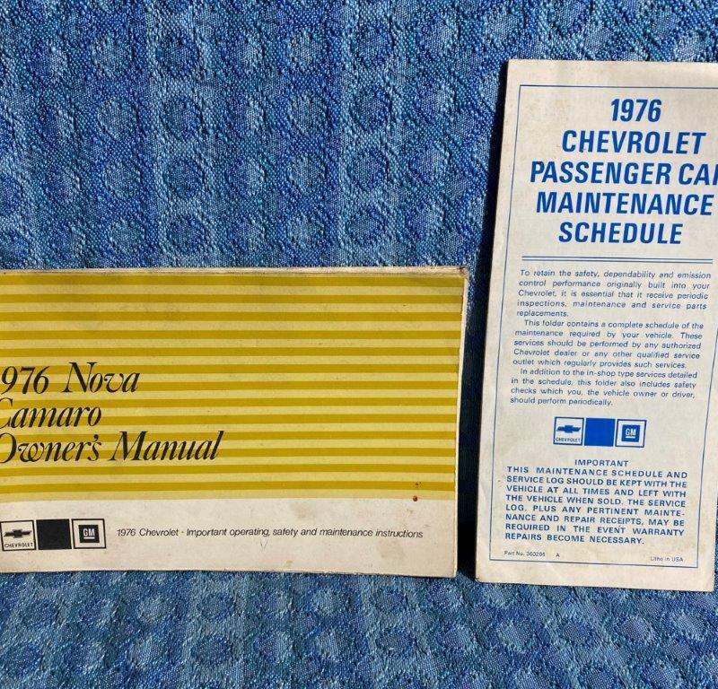 1976 Chevrolet Camaro & Nova Original Owners Manual & Maintenance Schedule
