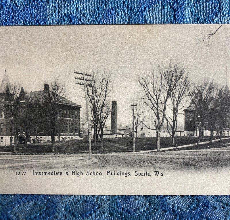 Circa 1908 Intermediate & High School Sparta Wisconsin Original Photo Postcard