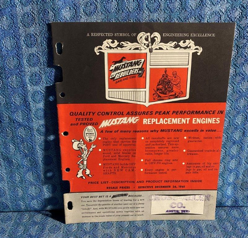 1942-1960 Mustang Replacement Engines Catalog Car/Truck w/ Casting Number SEE AD